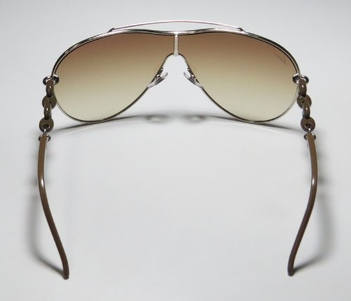 new collection & genuine - designer/brand: GUCCI style/model: 4203/S color: GOLD/LIGHT BROWN GRADIENT LENS SHIELD UV PROTECTION OVERSIZED SUNGLASSES/SUN GLASSES/EYEWEAR - for women/ladies
