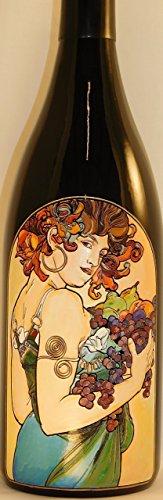 Mucha Art- Etched Wine Bottle (Art Nouveau Auction)