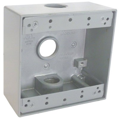 Master Electrician TGB75-3 2 Gang Outlet Box with Three 3/4-Inch IPT Thread Holes (Box Hole 3 Outlet)