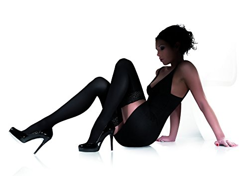 Marilyn blickdichte halterlose Strümpfe mit 9 cm Spitze, 100 Denier, Größe 40/42 (M/L), Farbe Schwarz (nero)