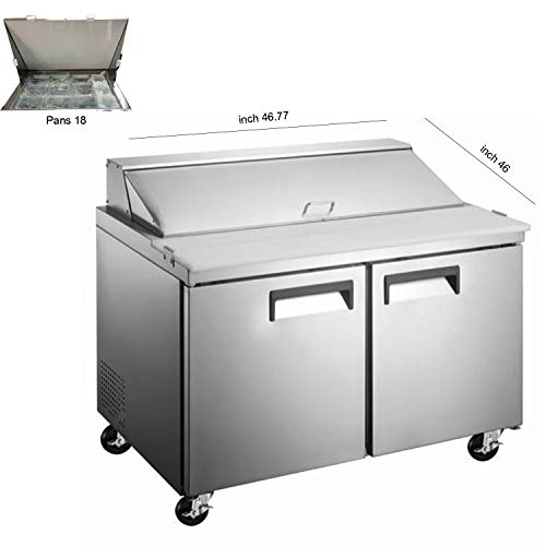 - 47 inch Two Door Mega Refrigerated Sandwich/Salad Preparation Table, 18 Pans, ETL Certified