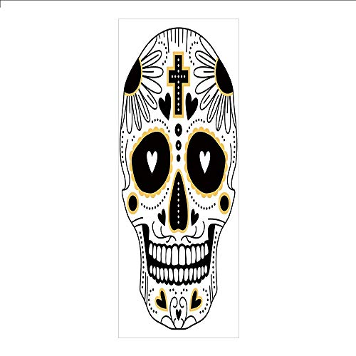 3D Decorative Film Privacy Window Film No Glue,Day of The Dead Decor,Dia de Los Muertos Spanish Mexican Festive Hippie Print,Black White and Yellow,for Home&Office -