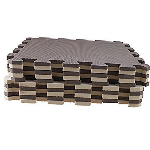 SODIAL 10 Piece Eva Foam Puzzle Exercise Mat Interlocking Floor Tiles Brown+beige R