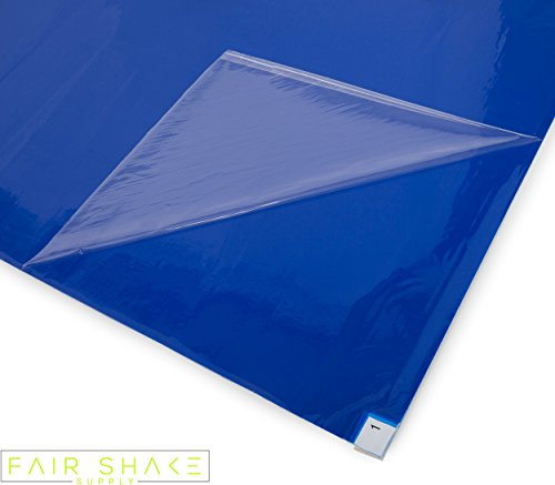 (Sticky, Tacky Blue Floor Mats with Upgraded Adhesives (4 Mats Included with 30 Sheets Each) for Renovations/Construction/Cleanrooms)