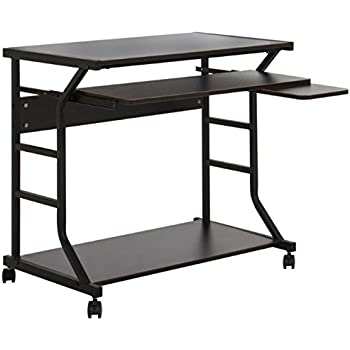 Amazon Com 2 Tier Rolling Computer Desk With Pull Out