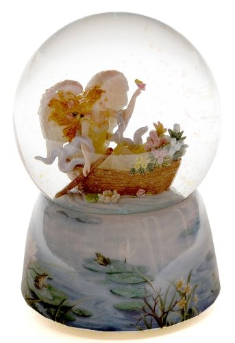 Seraphim Angel Figurine in Musical Waterglobe Statue Flower Canoe Sculpture Home Office Tabletop Decorative Christmas Birthday Gift Ideas Indoor Outdoor Ornament Accent