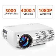 #LightningDeal Crenova Video Projector, 5000 Lux Home Movie Projector(550 ANSI), 200'' Display HD LED Projector 1080P Supported, Work with Phone, PC, Mac, TV Stick, PS4, HDMI, USB for Home Theater[2019 Upgraded]