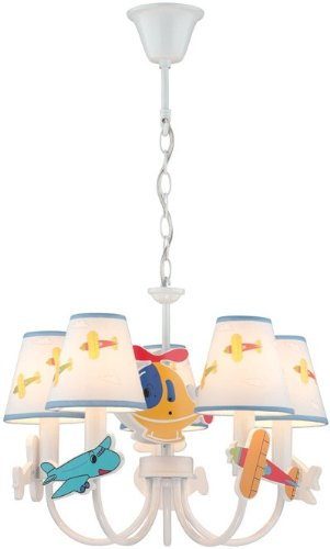 Lite Source IK-1002 Chandelier with White Airplane Fabric Shades, White Finish