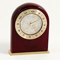 Bey-Berk CM701 Marco Island, Lacquered Rosewood Quartz Clock with World Time Dial Face. Brown