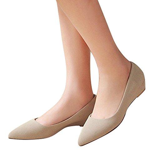 Dear Time Womens Slip On Platform High Heel Wedge Pumps Shoes Beige dAOSNalZ