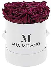 Mia Milano ® Rosenbox mit 4 Infinity Rosen | Flowerbox (Geschenkbox zum Muttertag) konservierte Blumen 3 Jahre haltbar
