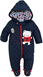 Duck Goose Baby Boys Cute Teddy Bear Quilted Footed Snow Pram Suit, Navy, 0-3 Months
