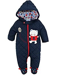 Duck Goose Baby Boys Cute Teddy Bear Quilted Footed Snow Pram Suit, Navy, 3-6 Months