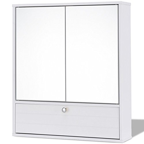 Moon Daughter Over Basin Mirror 2 Capacious Door Shelf Wall Mount White Bathroom Wood Cabinet Organizer Storage