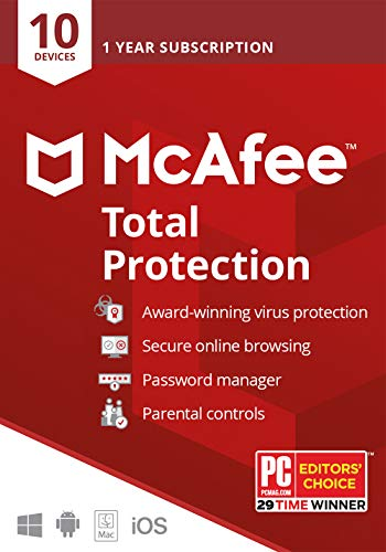 McAfee Total Protection, 10 Device, Antivirus Software, Identity Security, 1 Year Subscription-...