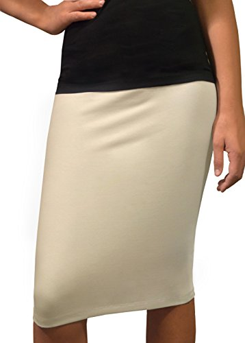 Kosher Casual Women's Modest Knee-Length Fitted Small Khaki Beige Pencil Skirt in Cotton