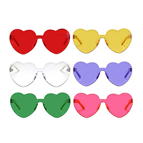 One Piece Heart Shaped Rimless Sunglasses Transparent Candy Color Eyewear(6 Pack)