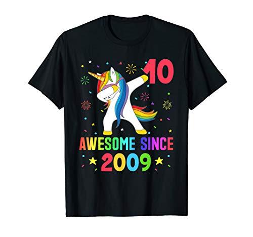 10 Years Old 10th Birthday Unicorn Dabbing Shirt Girl Party T-Shirt (Birthday Cards For 10 Years Old Girl)