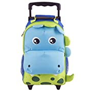 Yodo Zoo 3-Way Toddler Backpack with Wheels or Little Kids Rolling Suitcase Luggage, with Front Pouch and Side Bottle Holders, for toddler boys and girls, Dinosaur