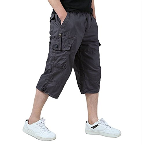 Loose Fit Twill - Leward Men's Casual Twill Elastic Cargo Shorts Loose Fit Multi-Pocket Capri Long Shorts (L, Grey)