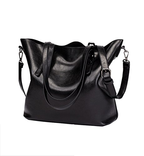 Ecokaki Women's Vintage Large PU Leather Travel Handbag Hobo Bag Shoulder Bag Sling Bag Cross Body Bag Black by Ecokaki