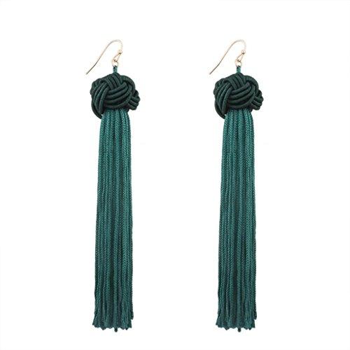 Dance Dangle (Elogoog Handcraft Gorgeous Long Tassel Drop Dangle Stud Earrings For Wedding Party Dance Jewelry (Green 4))