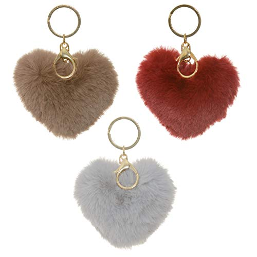 3 Pack Cute Novelty Heart Keychains Faux Fur Ball Pom Pom Key Chain Ring for Women Girls Bag Pendant (Red Gray Brown Heart) ()