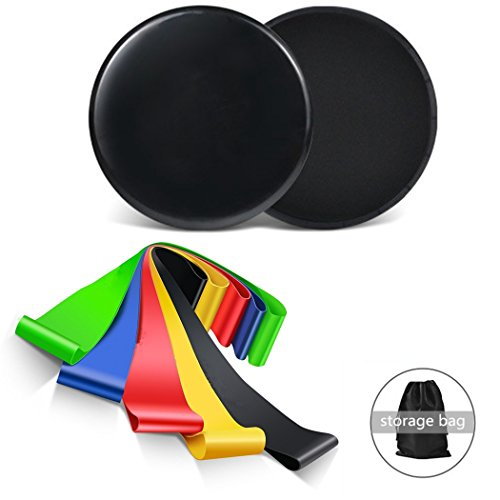Gliding Discs Core Sliders & 5 Exercise Resistance Loop Band