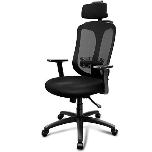 INTEY Silla de oficina, Sillas oficina Ergonomica, silla de escritorio Ajustables Apoyabrazos y soporte lumbar, transpirable y Material Fiable, Carga max.130kg