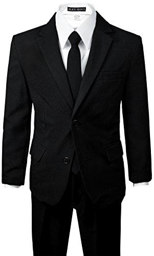 Black n Bianco Big Boys Solid Suit and Tie (12, Black)