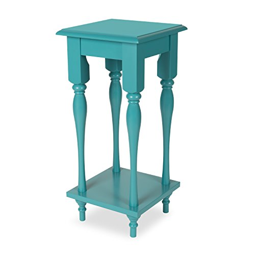 Kate and Laurel Sophia Wood Plant Stand End Table with Shelf Teal