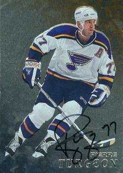 Pierre Turgeon autographed Hockey Card (St. Louis Blues) 1998 BAP #275