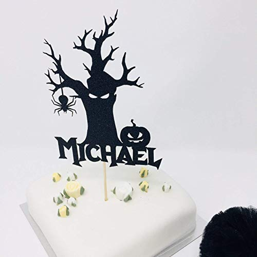 Custom Name Halloween Birthday Cake Topper. Happy halloween theme birthday party. Personalized Cake Topper -