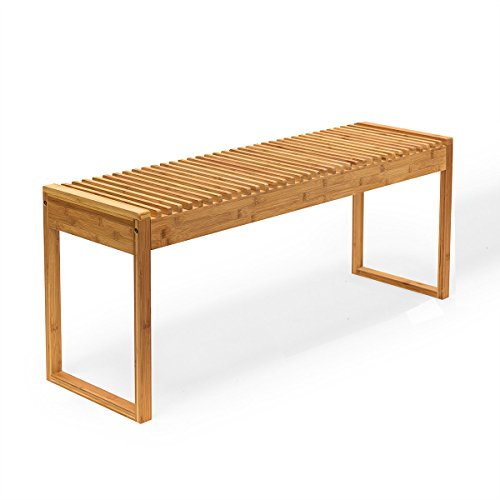 New Ridge Home Goods HX-71451 Indoor/Outdoor Solid Bamboo Bench, Natural ()