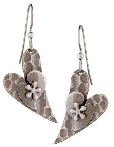 Silver Forest Hammered Heart Dangle Earrings Ne-0395