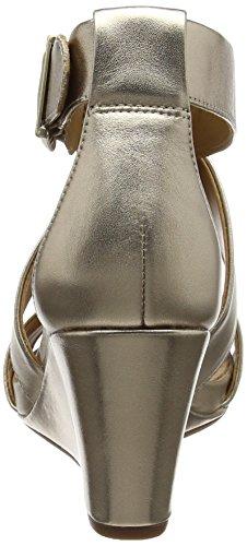 Clarks Acina Newport, Sandalias con Cuña para Mujer Varios Colores (Gold Metallic)