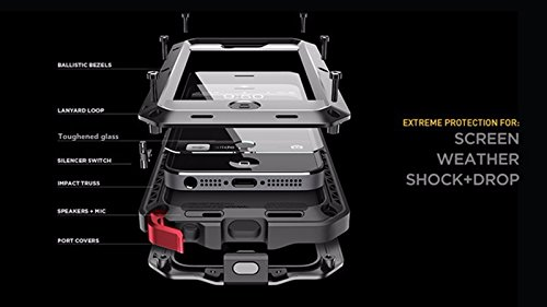 New Luxury Doom Metal Armor Life Waterproof Dirt Shockproof Aluminum+ Silicone Cover Case for IPhone 7 6 6S Plus 5 5C 5S SE