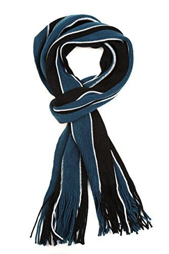 (Sakkas 1591 - Rhyland Striped Color Block Knitted Winter Scarf With Fringe - Black/Blue - OS)