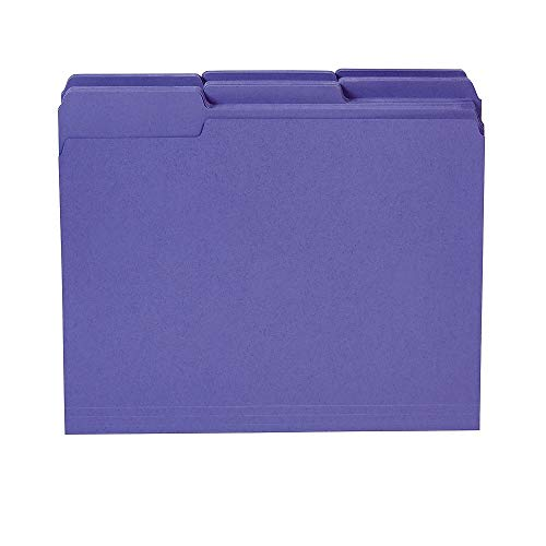 Staples 535559 Colored Top-Tab File Folders 3 Tab Purple Letter Size 100/Pack