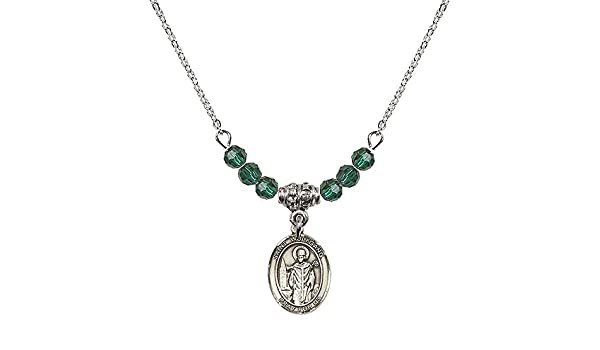 18-Inch Rhodium Plated Necklace with 4mm Emerald Birthstone Beads and Sterling Silver Saint Claude de la Colombiere Charm.