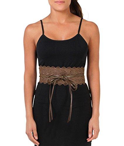 (15295-BRN-OS:: KRISP Crochet Waist Belt, Brown,One Size)