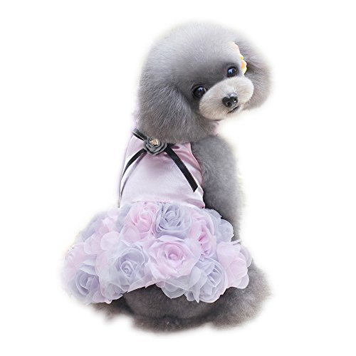 (WONDERSKY Pet Dog Dress Party Rose Wedding Satin Puppy Costume Clothes for Small Chihuahua)