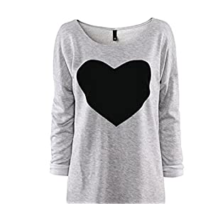 Gillberry Women Cotton Love Heart Printed Long Sleeved Round Neck T-Shirt (L, Gray)