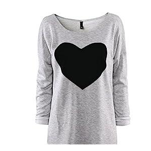 Gillberry Women CottonLove Heart Printed Long Sleeved Round Neck T-Shirt (XL, Gray)