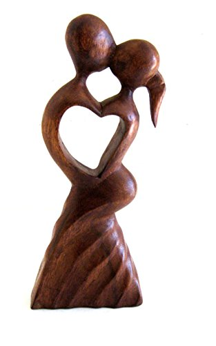 Kissing Couple Statue Wood Carved First Kiss Love Statue Modern Art -LARGE 12