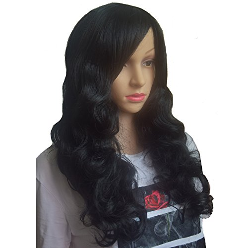 [Besgo Stylish Long Curl Black Hair Wig Party Cosplay Wig with Wig Cap (Black)] (Costume Wigs For Sale)