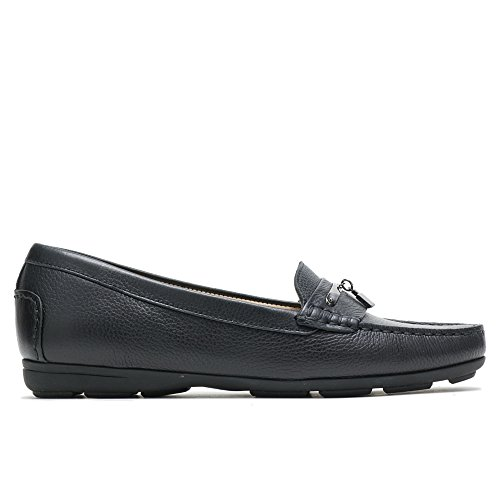 Hush Puppies Women's Renita Charm Driving Style Loafer, Black Pebbled Leather, 8 M -