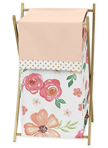 Sweet Jojo Designs Green - Sweet Jojo Designs Peach, Green and Gold Baby Kid Clothes Laundry Hamper for Watercolor Floral Collection - Pink Rose Flower