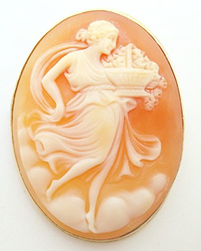 14K Gold Oval Genuine Natural Shell Cameo Pin with Woman and Basket (#2784)