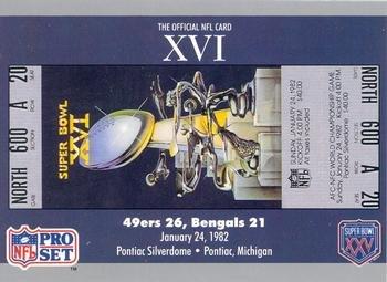 Super Bowl XVI football card (San Francisco 49ers & Cincinnati Bengals, 1982 Ticket Stub) 1990 Pro Set #16